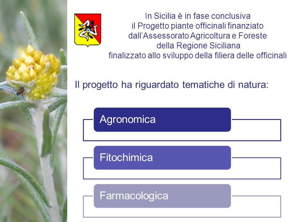 Il progetto ha riguardato tematiche di natura: AgronomicaFitochimicaFarmacologica In Sicilia è in fase conclusiva il Progetto piante officinali finanz