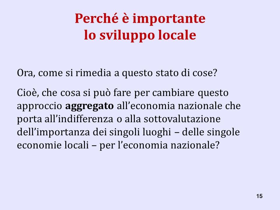 15 Perché è importante lo sviluppo locale Ora, come si rimedia a questo stato di cose.