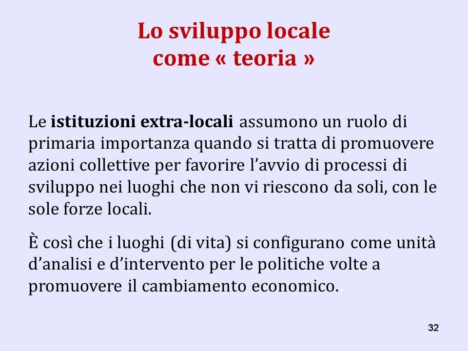 32 Lo sviluppo locale come « teoria » Le istituzioni extra-locali assumono un ruolo di primaria importanza quando si tratta di promuovere azioni collettive per favorire lavvio di processi di sviluppo nei luoghi che non vi riescono da soli, con le sole forze locali.
