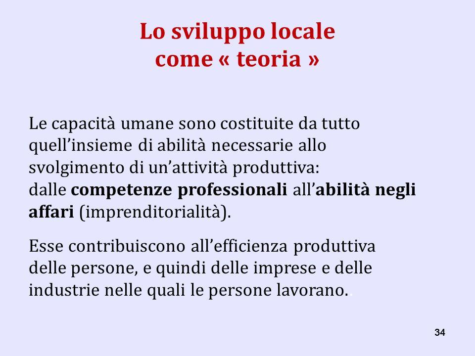 34 Lo sviluppo locale come « teoria » Le capacità umane sono costituite da tutto quellinsieme di abilità necessarie allo svolgimento di unattività produttiva: dalle competenze professionali allabilità negli affari (imprenditorialità).
