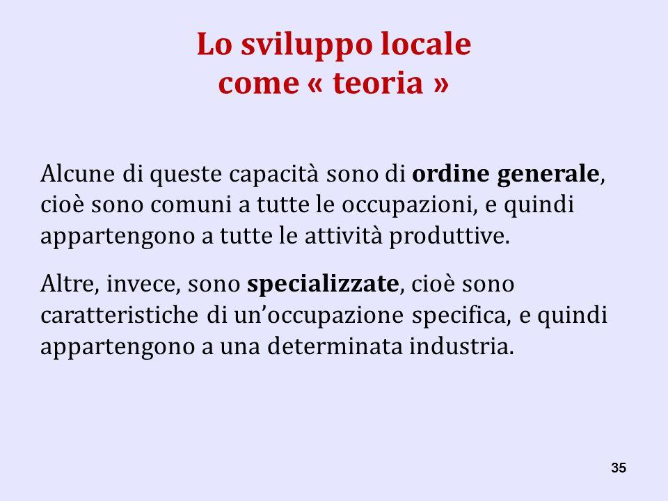 35 Lo sviluppo locale come « teoria » Alcune di queste capacità sono di ordine generale, cioè sono comuni a tutte le occupazioni, e quindi appartengono a tutte le attività produttive.