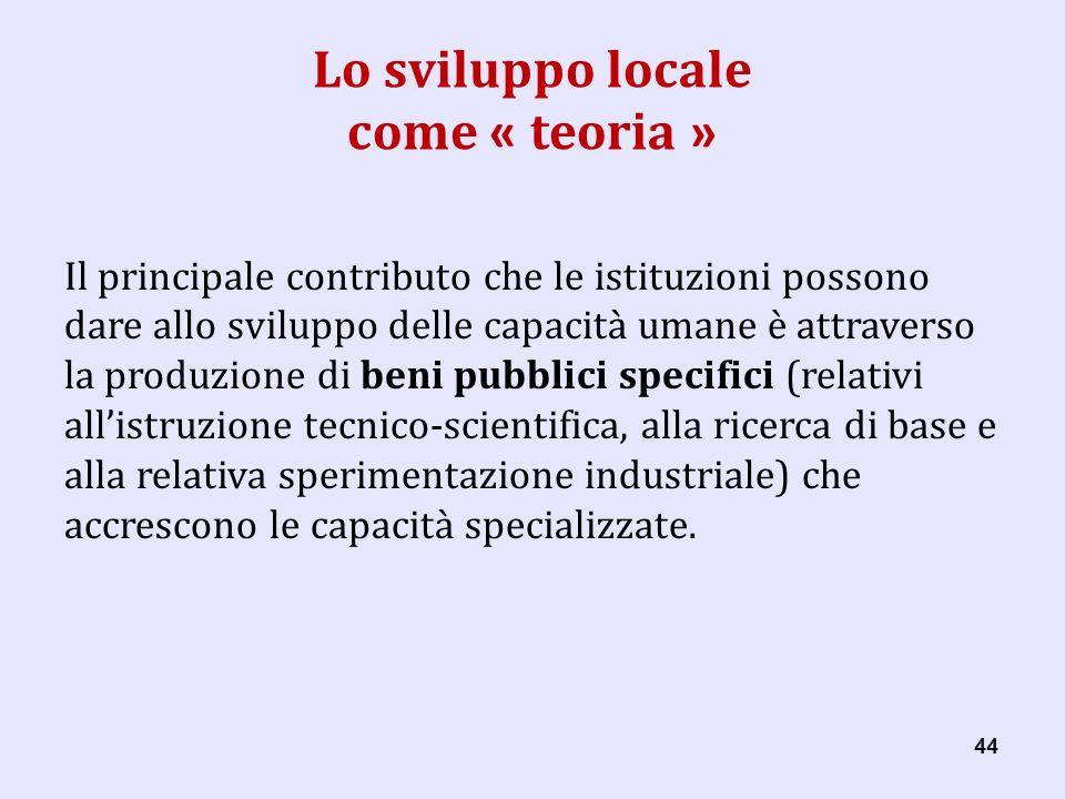 44 Lo sviluppo locale come « teoria » Il principale contributo che le istituzioni possono dare allo sviluppo delle capacità umane è attraverso la produzione di beni pubblici specifici (relativi allistruzione tecnicoscientifica, alla ricerca di base e alla relativa sperimentazione industriale) che accrescono le capacità specializzate.