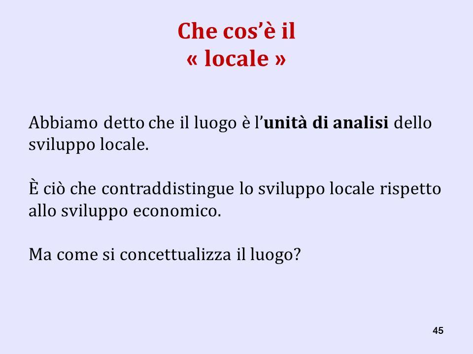 45 Che cosè il « locale » Abbiamo detto che il luogo è lunità di analisi dello sviluppo locale.