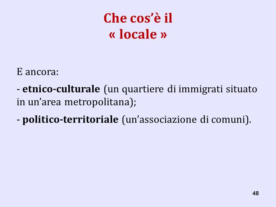 48 Che cosè il « locale » E ancora: - etnico-culturale (un quartiere di immigrati situato in unarea metropolitana); - politico-territoriale (unassociazione di comuni).
