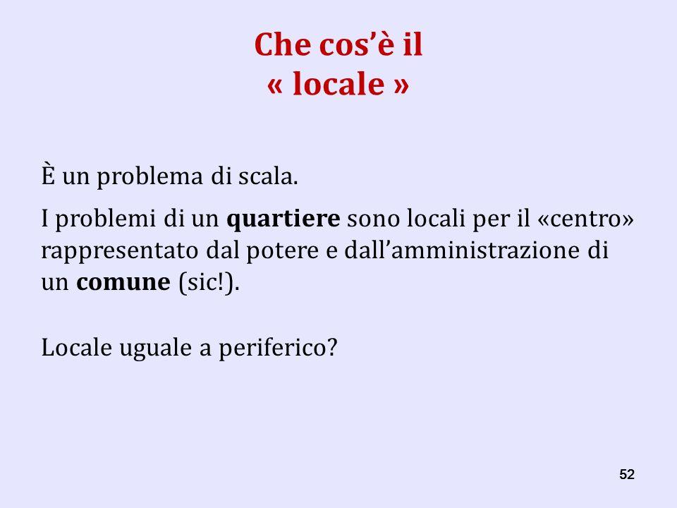 52 Che cosè il « locale » È un problema di scala.