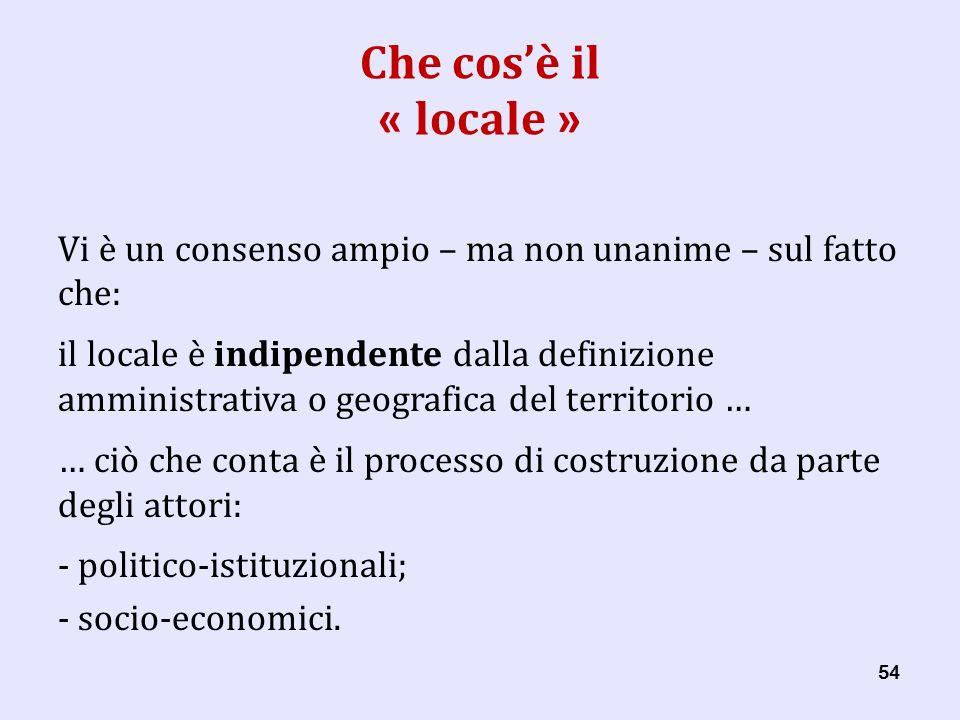 54 Che cosè il « locale » Vi è un consenso ampio – ma non unanime – sul fatto che: il locale è indipendente dalla definizione amministrativa o geografica del territorio … … ciò che conta è il processo di costruzione da parte degli attori: - politico-istituzionali; - socio-economici.