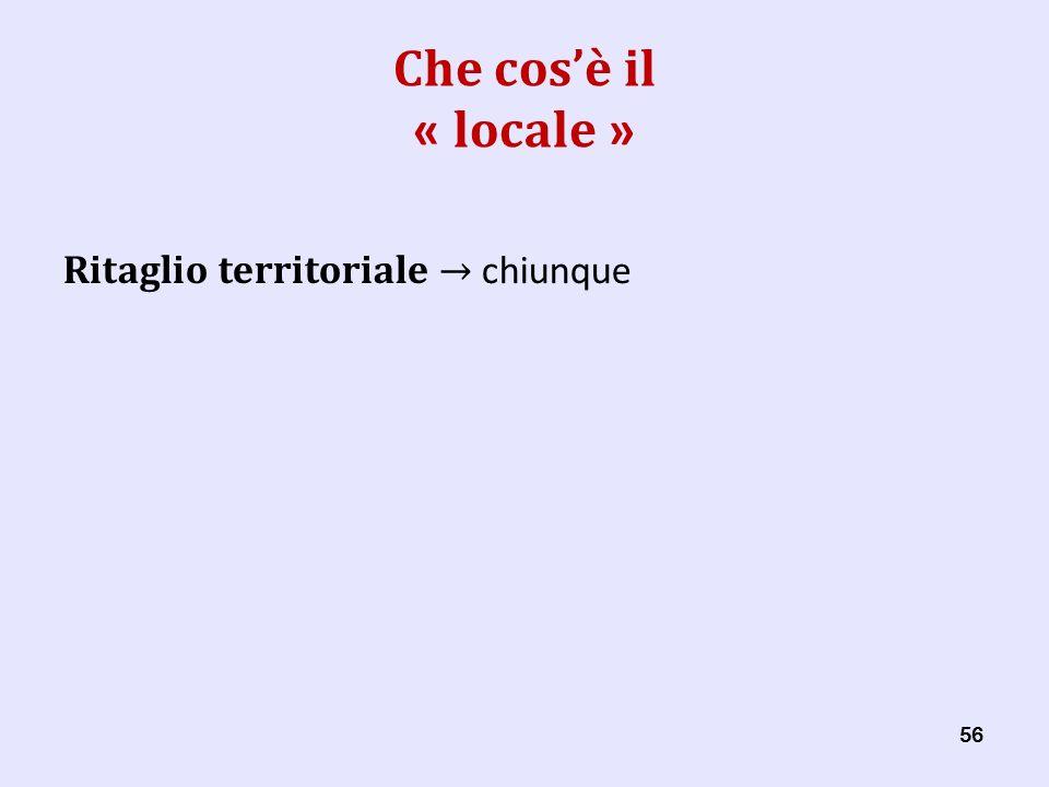 56 Che cosè il « locale » Ritaglio territoriale chiunque