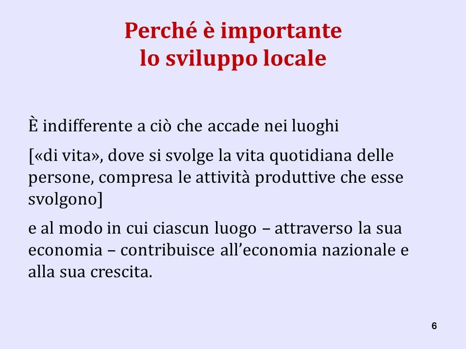 27 Lo sviluppo locale come « teoria » Lo sviluppo locale è … … un modo di interpretare il cambiamento economico.