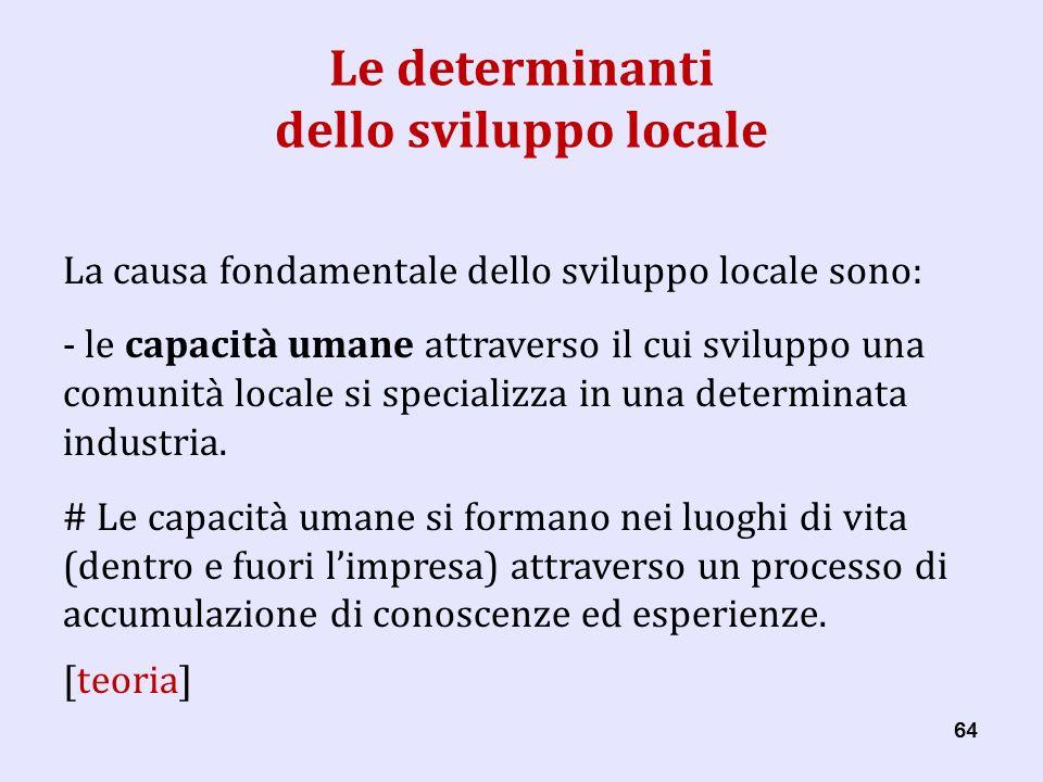 64 Le determinanti dello sviluppo locale La causa fondamentale dello sviluppo locale sono: - le capacità umane attraverso il cui sviluppo una comunità locale si specializza in una determinata industria.