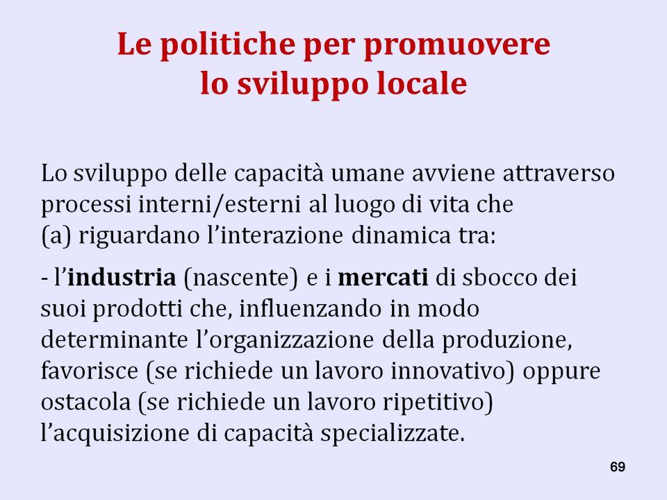 69 Le politiche per promuovere lo sviluppo locale