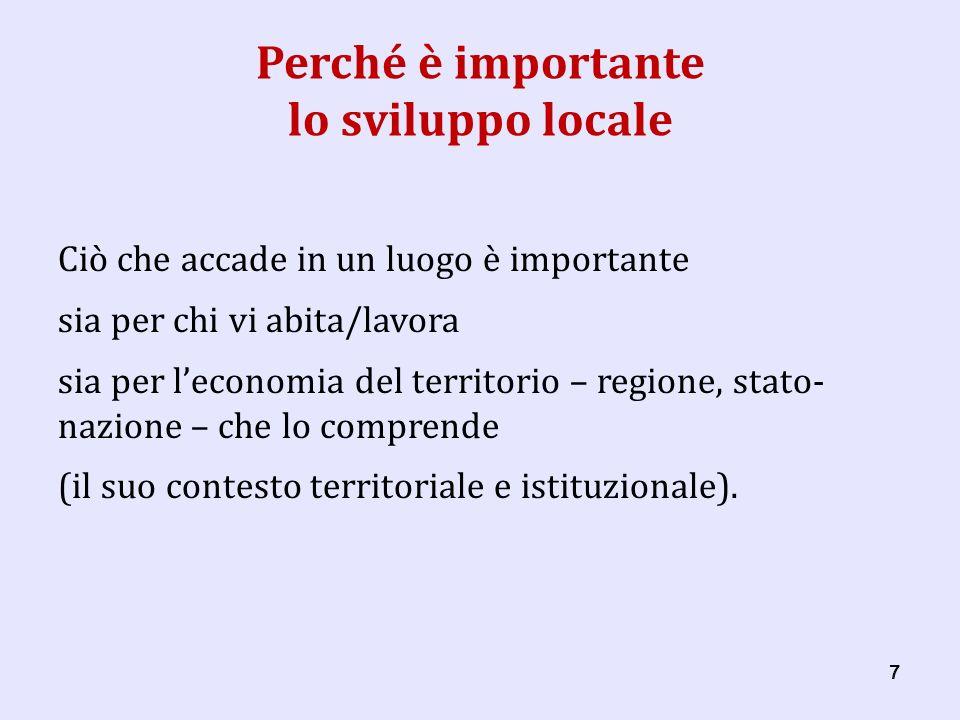 58 Che cosè il « locale » Comunità locale le persone (le famiglie) - le persone, come agenti umani della produzione; - le famiglie, come incubatori di imprenditorialità.