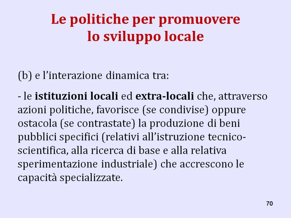 70 Le politiche per promuovere lo sviluppo locale