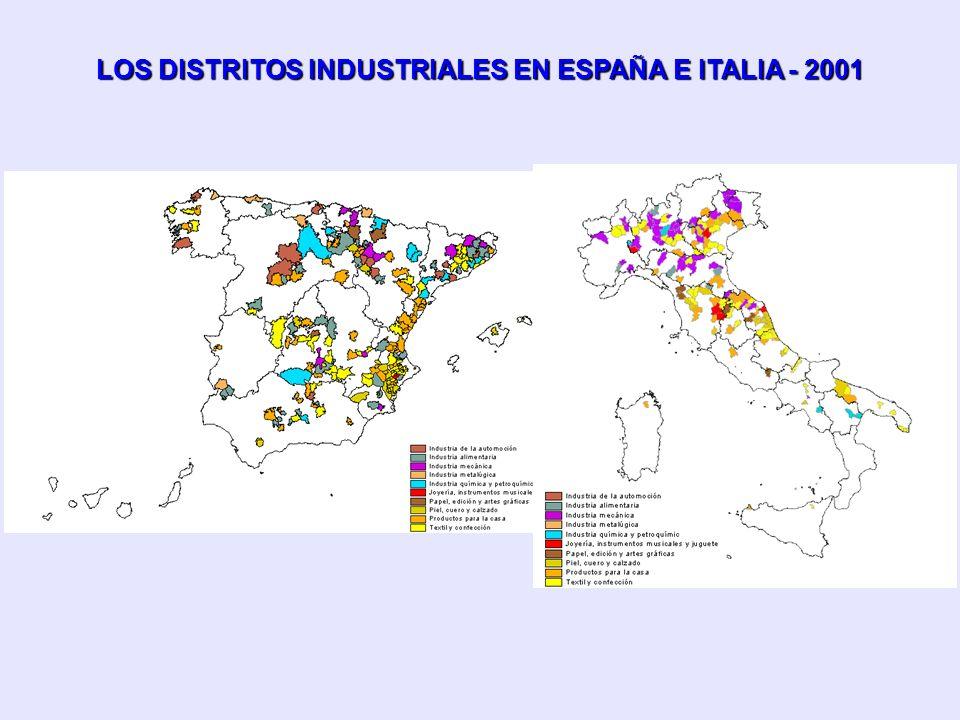 LOS DISTRITOS INDUSTRIALES EN ESPAÑA E ITALIA - 2001