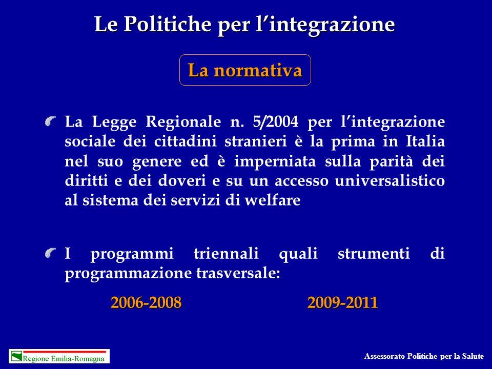 Assessorato Politiche per la Salute Le Politiche per lintegrazione La normativa La Legge Regionale n.