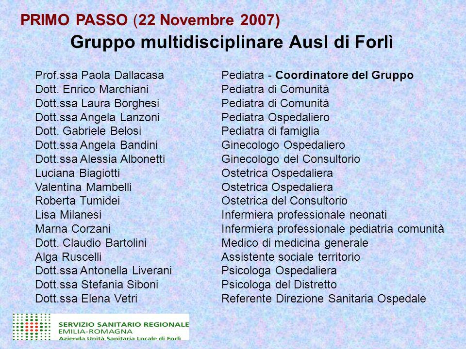 Gruppo multidisciplinare Ausl di Forlì Prof.ssa Paola DallacasaPediatra - Coordinatore del Gruppo Dott. Enrico MarchianiPediatra di Comunità Dott.ssa