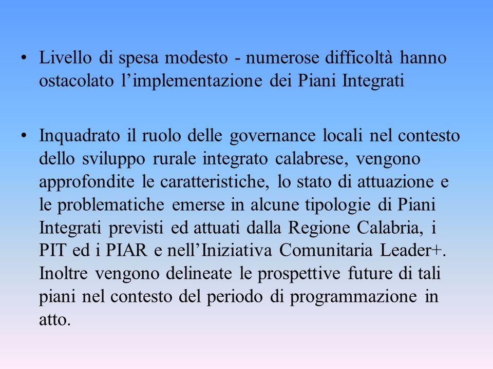 Livello di spesa modesto - numerose difficoltà hanno ostacolato limplementazione dei Piani Integrati Inquadrato il ruolo delle governance locali nel c