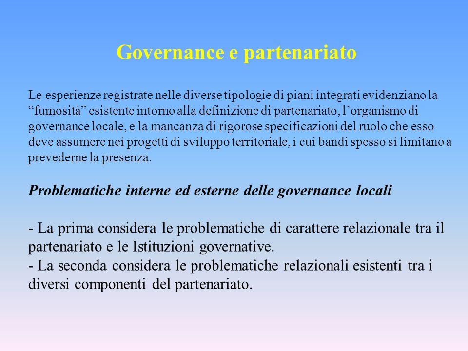 Governance e partenariato Le esperienze registrate nelle diverse tipologie di piani integrati evidenziano la fumosità esistente intorno alla definizio