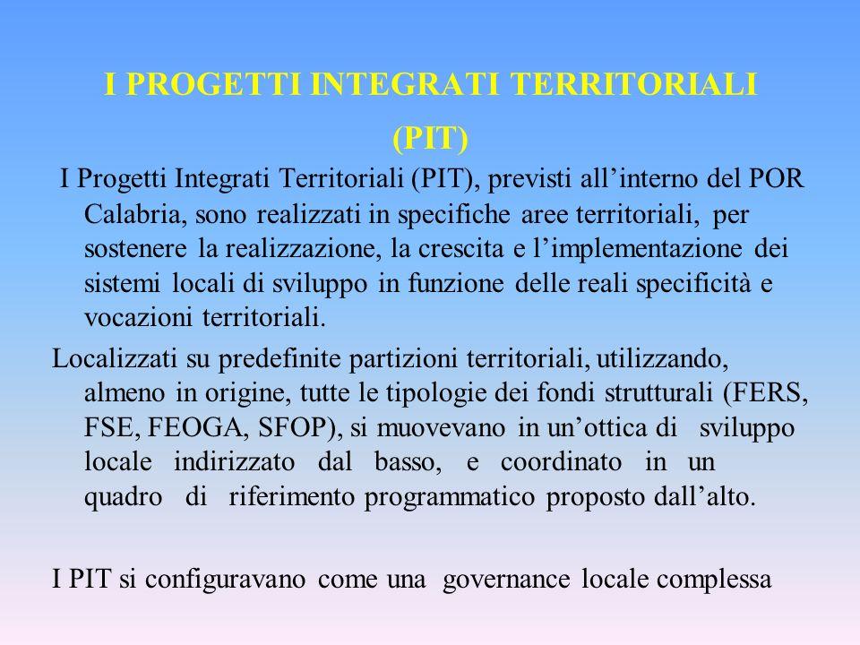 I PROGETTI INTEGRATI TERRITORIALI (PIT) I Progetti Integrati Territoriali (PIT), previsti allinterno del POR Calabria, sono realizzati in specifiche aree territoriali, per sostenere la realizzazione, la crescita e limplementazione dei sistemi locali di sviluppo in funzione delle reali specificità e vocazioni territoriali.