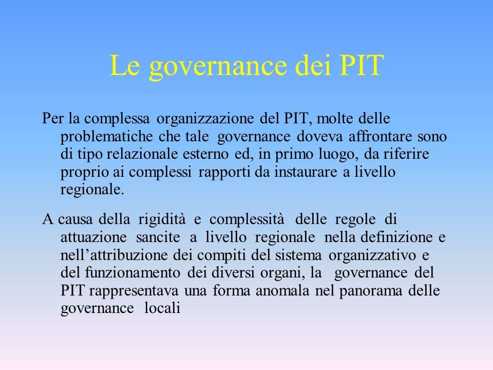 Per la complessa organizzazione del PIT, molte delle problematiche che tale governance doveva affrontare sono di tipo relazionale esterno ed, in primo luogo, da riferire proprio ai complessi rapporti da instaurare a livello regionale.
