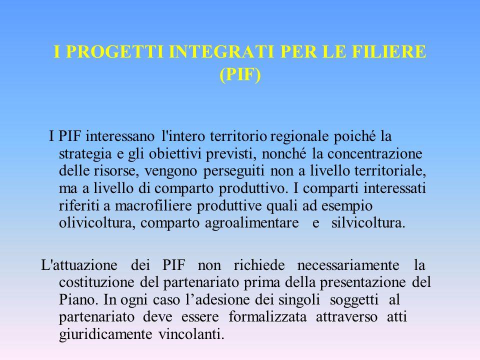 I PROGETTI INTEGRATI PER LE FILIERE (PIF) I PIF interessano l intero territorio regionale poiché la strategia e gli obiettivi previsti, nonché la concentrazione delle risorse, vengono perseguiti non a livello territoriale, ma a livello di comparto produttivo.