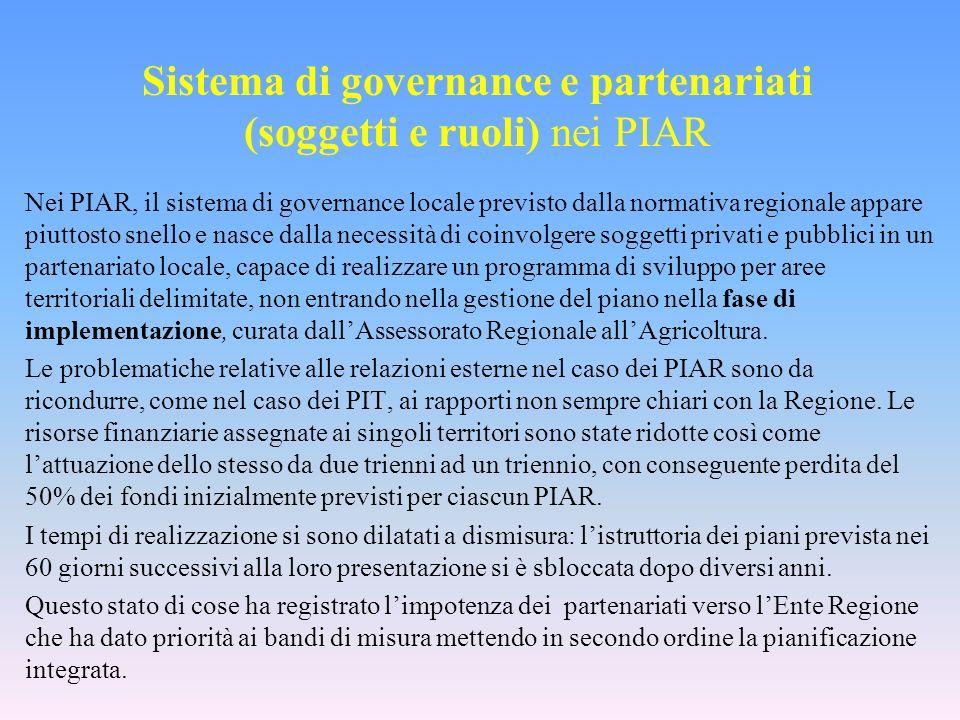 Sistema di governance e partenariati (soggetti e ruoli) nei PIAR Nei PIAR, il sistema di governance locale previsto dalla normativa regionale appare p
