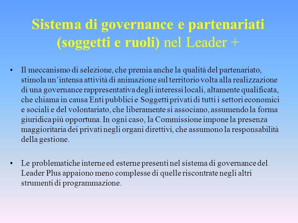 Sistema di governance e partenariati (soggetti e ruoli) nel Leader + Il meccanismo di selezione, che premia anche la qualità del partenariato, stimola