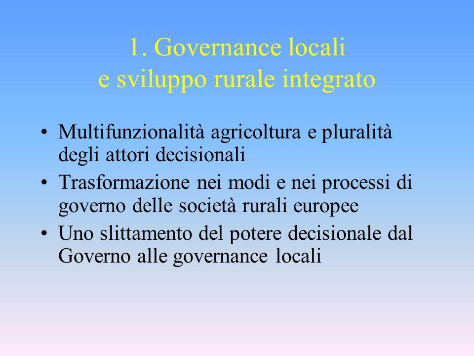 1. Governance locali e sviluppo rurale integrato Multifunzionalità agricoltura e pluralità degli attori decisionali Trasformazione nei modi e nei proc