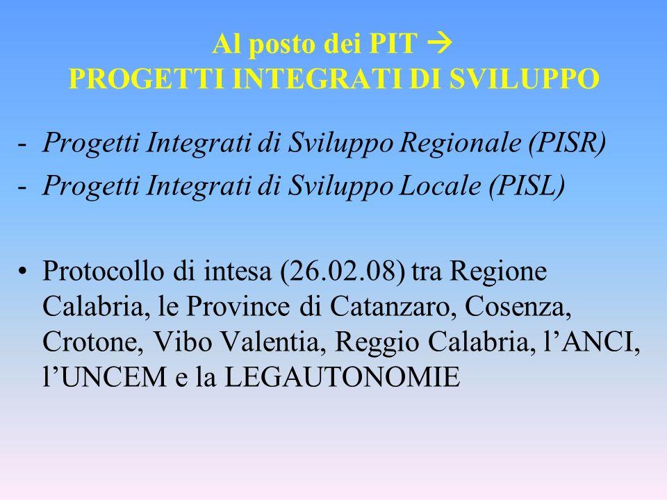 Al posto dei PIT PROGETTI INTEGRATI DI SVILUPPO -Progetti Integrati di Sviluppo Regionale (PISR) -Progetti Integrati di Sviluppo Locale (PISL) Protoco