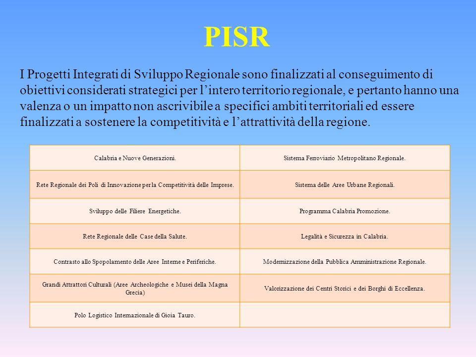 PISR I Progetti Integrati di Sviluppo Regionale sono finalizzati al conseguimento di obiettivi considerati strategici per lintero territorio regionale, e pertanto hanno una valenza o un impatto non ascrivibile a specifici ambiti territoriali ed essere finalizzati a sostenere la competitività e lattrattività della regione.