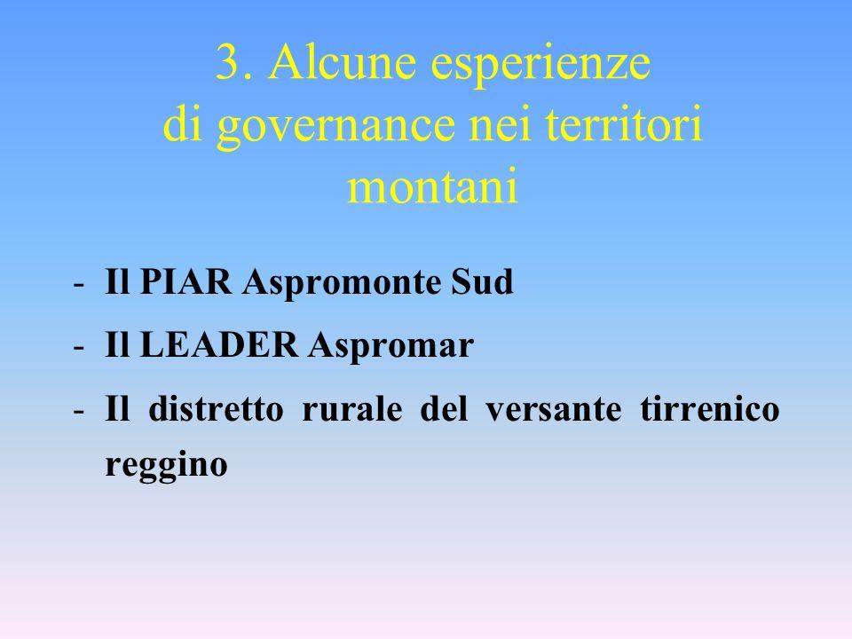 3. Alcune esperienze di governance nei territori montani -Il PIAR Aspromonte Sud -Il LEADER Aspromar -Il distretto rurale del versante tirrenico reggi