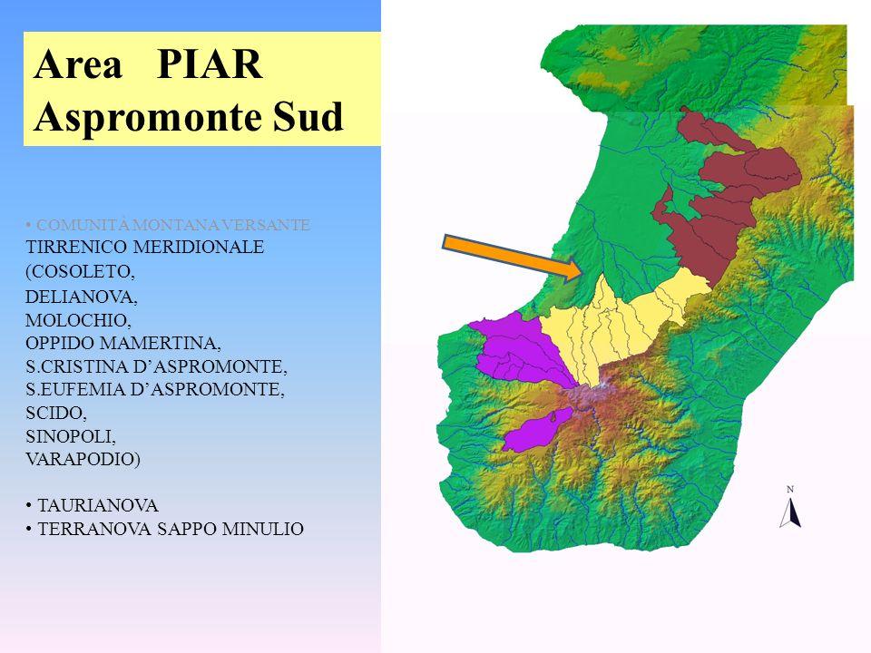 COMUNITÀ MONTANA VERSANTE TIRRENICO MERIDIONALE (COSOLETO, DELIANOVA, MOLOCHIO, OPPIDO MAMERTINA, S.CRISTINA DASPROMONTE, S.EUFEMIA DASPROMONTE, SCIDO, SINOPOLI, VARAPODIO) TAURIANOVA TERRANOVA SAPPO MINULIO Area PIAR Aspromonte Sud