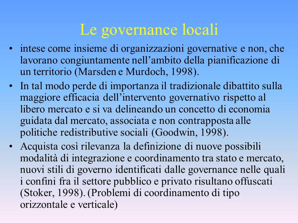 Le governance locali intese come insieme di organizzazioni governative e non, che lavorano congiuntamente nellambito della pianificazione di un territorio (Marsden e Murdoch, 1998).