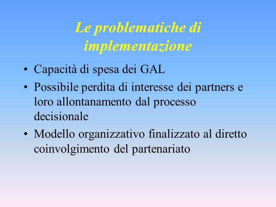 Le problematiche di implementazione Capacità di spesa dei GAL Possibile perdita di interesse dei partners e loro allontanamento dal processo decisionale Modello organizzativo finalizzato al diretto coinvolgimento del partenariato