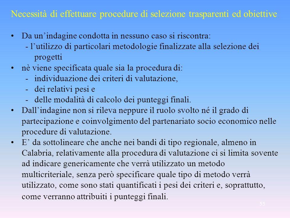 55 Necessità di effettuare procedure di selezione trasparenti ed obiettive Da unindagine condotta in nessuno caso si riscontra: - lutilizzo di partico