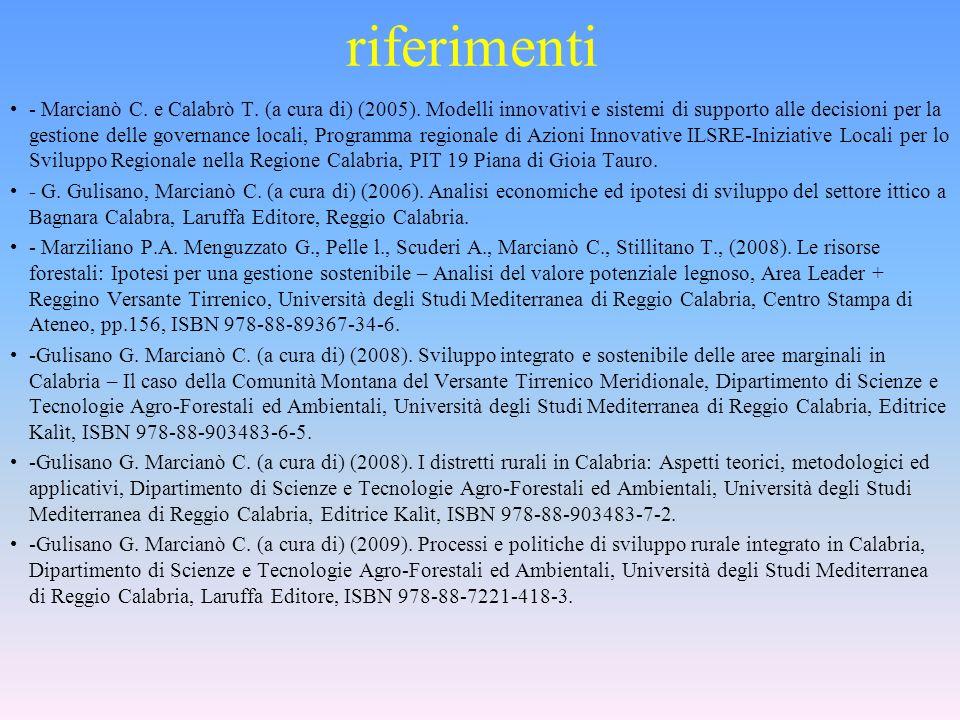 riferimenti - Marcianò C. e Calabrò T. (a cura di) (2005). Modelli innovativi e sistemi di supporto alle decisioni per la gestione delle governance lo