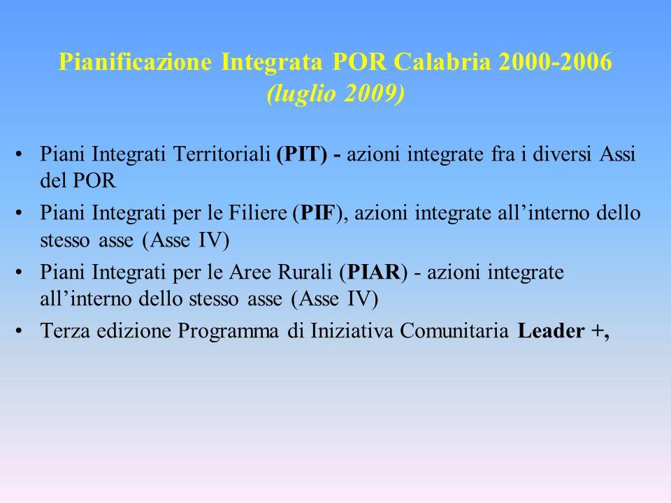 Pianificazione Integrata POR Calabria 2000-2006 (luglio 2009) Piani Integrati Territoriali (PIT) - azioni integrate fra i diversi Assi del POR Piani Integrati per le Filiere (PIF), azioni integrate allinterno dello stesso asse (Asse IV) Piani Integrati per le Aree Rurali (PIAR) - azioni integrate allinterno dello stesso asse (Asse IV) Terza edizione Programma di Iniziativa Comunitaria Leader +,
