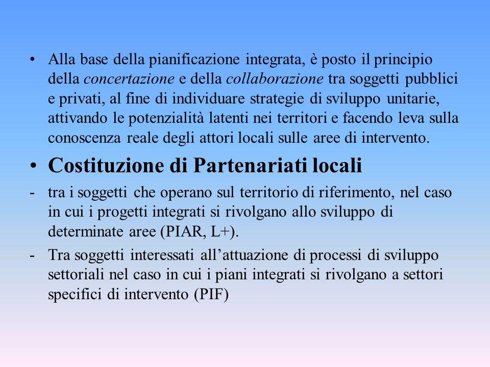 Alla base della pianificazione integrata, è posto il principio della concertazione e della collaborazione tra soggetti pubblici e privati, al fine di individuare strategie di sviluppo unitarie, attivando le potenzialità latenti nei territori e facendo leva sulla conoscenza reale degli attori locali sulle aree di intervento.
