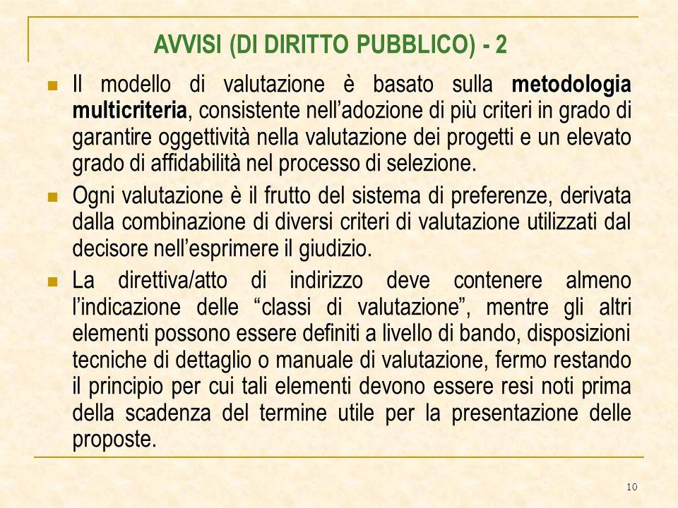 10 metodologia multicriteria Il modello di valutazione è basato sulla metodologia multicriteria, consistente nelladozione di più criteri in grado di garantire oggettività nella valutazione dei progetti e un elevato grado di affidabilità nel processo di selezione.