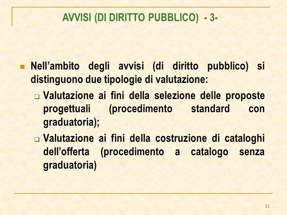 11 Nellambito degli avvisi (di diritto pubblico) si distinguono due tipologie di valutazione: procedimento standard con graduatoria Valutazione ai fini della selezione delle proposte progettuali (procedimento standard con graduatoria); procedimento a catalogo senza graduatoria Valutazione ai fini della costruzione di cataloghi dellofferta (procedimento a catalogo senza graduatoria) AVVISI (DI DIRITTO PUBBLICO) - 3-