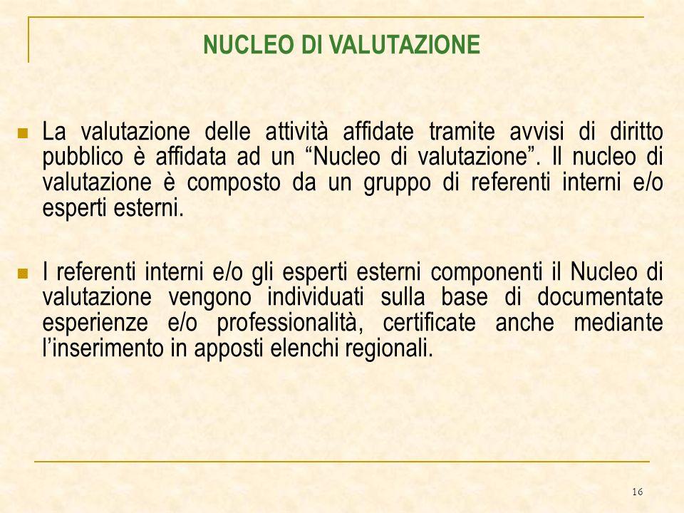 16 La valutazione delle attività affidate tramite avvisi di diritto pubblico è affidata ad un Nucleo di valutazione.