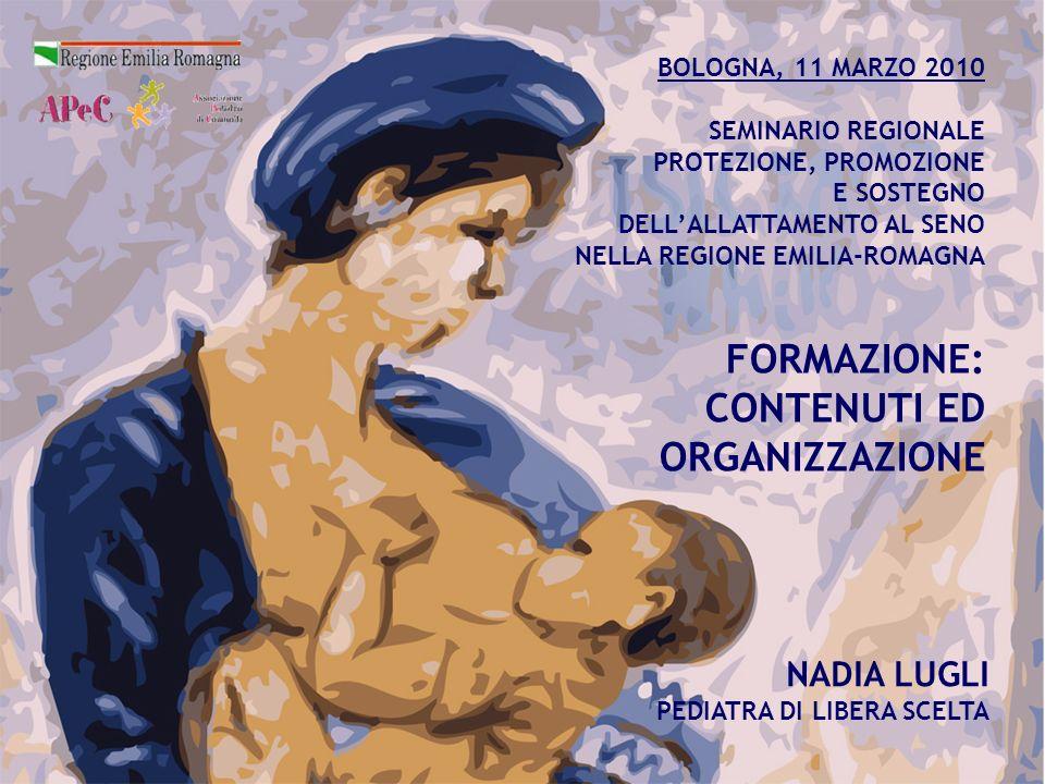 NADIA LUGLI PEDIATRA DI LIBERA SCELTA BOLOGNA, 11 MARZO 2010 SEMINARIO REGIONALE PROTEZIONE, PROMOZIONE E SOSTEGNO DELLALLATTAMENTO AL SENO NELLA REGI