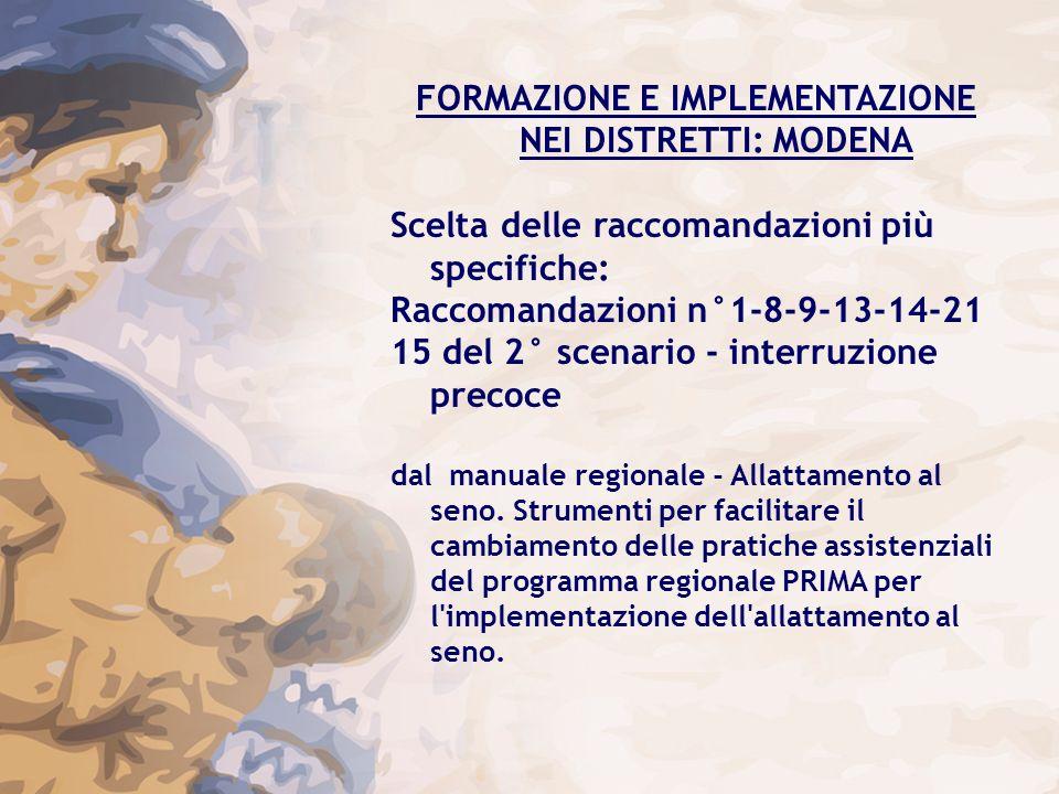 FORMAZIONE E IMPLEMENTAZIONE NEI DISTRETTI: MODENA Scelta delle raccomandazioni più specifiche: Raccomandazioni n°1-8-9-13-14-21 15 del 2° scenario -