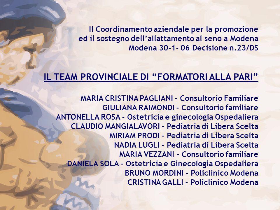 Il Coordinamento aziendale per la promozione ed il sostegno dellallattamento al seno a Modena Modena 30-1- 06 Decisione n.23/DS IL TEAM PROVINCIALE DI