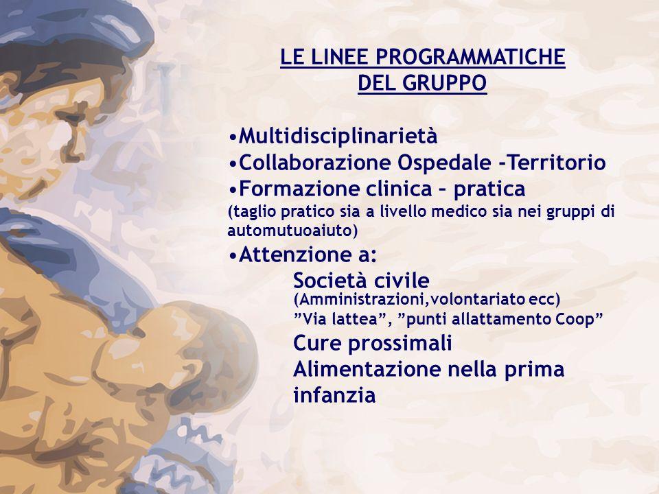 LE LINEE PROGRAMMATICHE DEL GRUPPO Multidisciplinarietà Collaborazione Ospedale -Territorio Formazione clinica – pratica (taglio pratico sia a livello