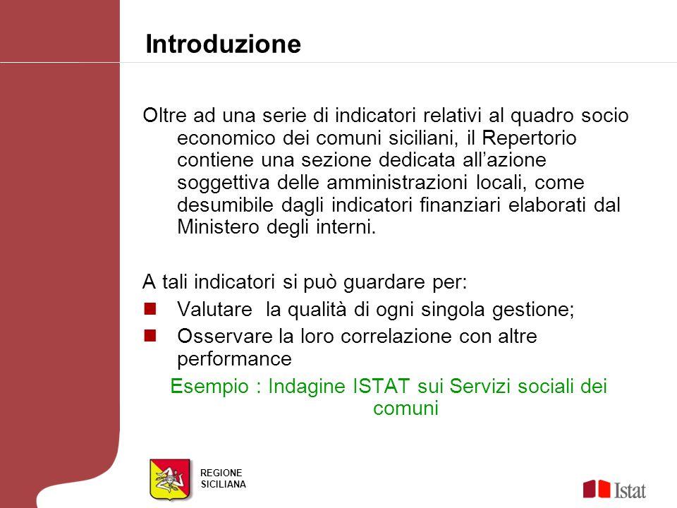REGIONE SICILIANA Oltre ad una serie di indicatori relativi al quadro socio economico dei comuni siciliani, il Repertorio contiene una sezione dedicat