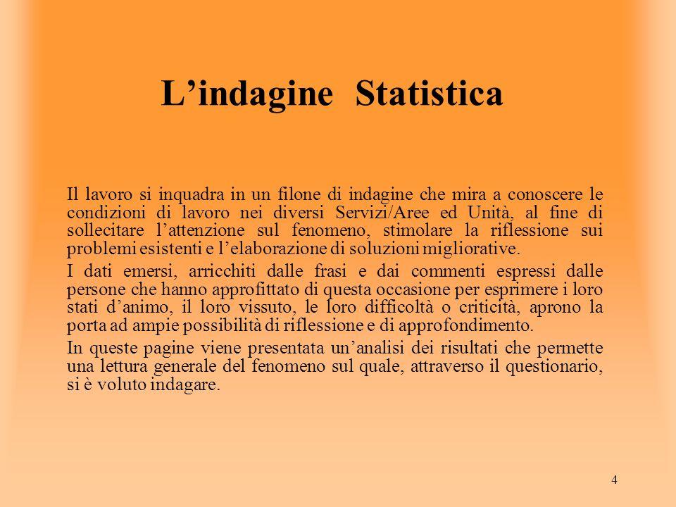 4 Lindagine Statistica Il lavoro si inquadra in un filone di indagine che mira a conoscere le condizioni di lavoro nei diversi Servizi/Aree ed Unità,
