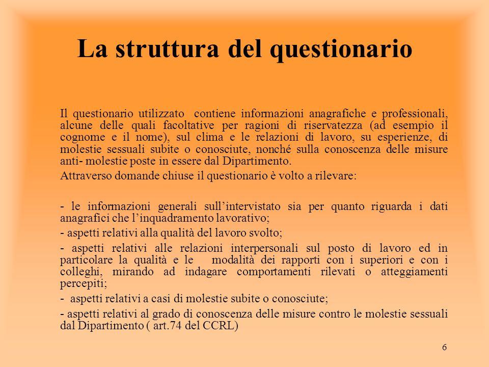 6 La struttura del questionario Il questionario utilizzato contiene informazioni anagrafiche e professionali, alcune delle quali facoltative per ragio