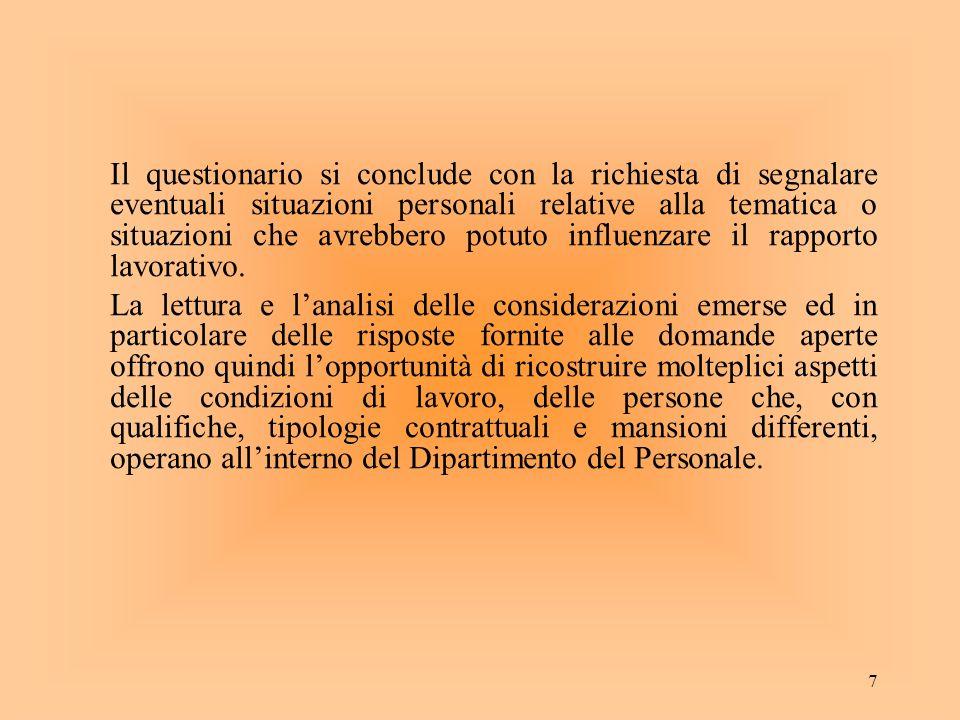 7 Il questionario si conclude con la richiesta di segnalare eventuali situazioni personali relative alla tematica o situazioni che avrebbero potuto in