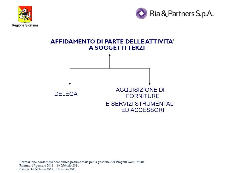 Formazione contabilità economico patrimoniale per la gestione dei Progetti Comunitari Palermo, 19 gennaio 2011 – 10 febbraio 2011 Catania, 16 febbraio 2011 – 10 marzo 2011 AFFIDAMENTO DI PARTE DELLE ATTIVITA A SOGGETTI TERZI DELEGA ACQUISIZIONE DI FORNITURE E SERVIZI STRUMENTALI ED ACCESSORI