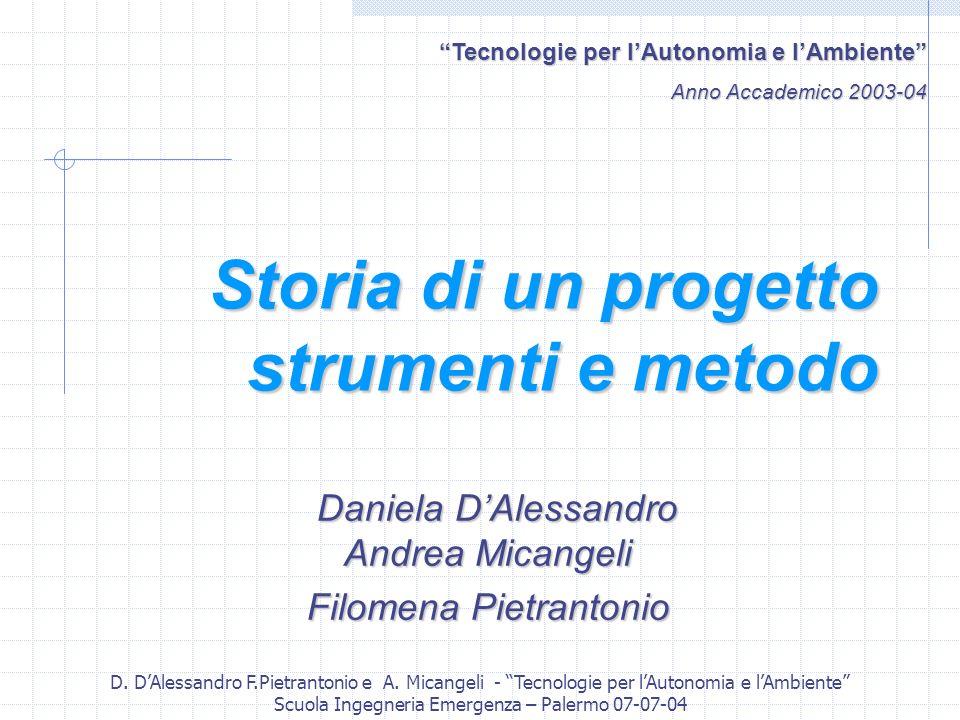 D. DAlessandro F.Pietrantonio e A. Micangeli - Tecnologie per lAutonomia e lAmbiente Scuola Ingegneria Emergenza – Palermo 07-07-04 Storia di un proge